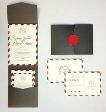 Airmail! Love this wedding invite idea Wined and Designed #bermuda #wedding