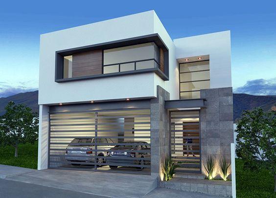 Fachada de casa moderna casas pinterest fachadas de for Fachadas modernas para departamentos