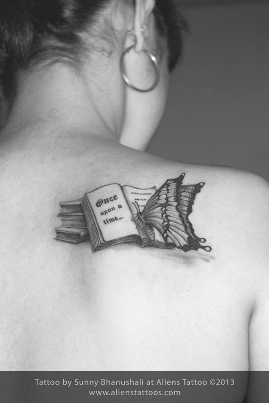 Small Book Tattoo: Butterfly Reading Book Tattoo, Inked By Sunny At Aliens