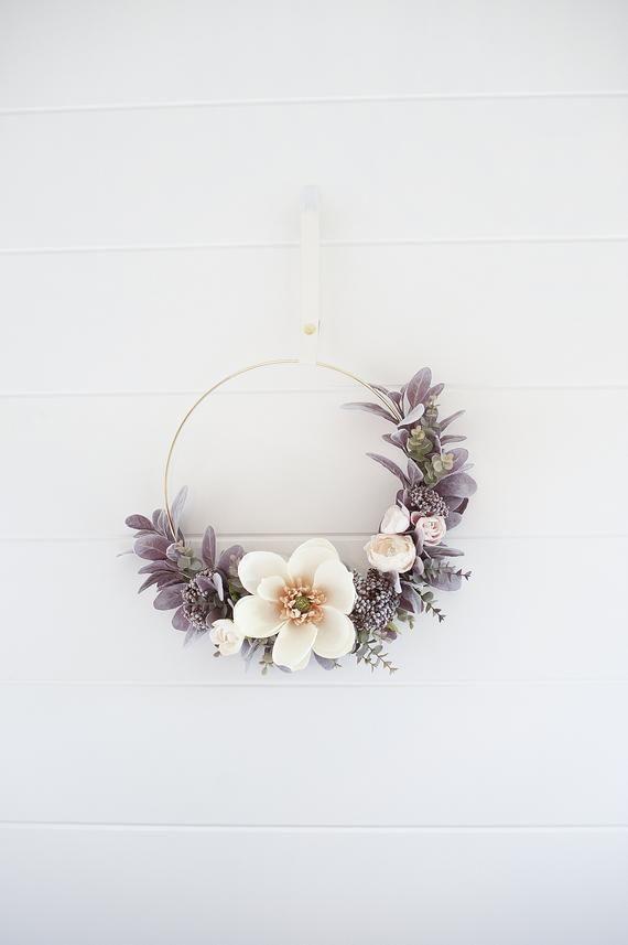 Photo of Items similar to Modern Fall Magnolia &Sweet blush Rose wreath|hoop wreath|Fall wreath|fall decor|modern wreath Magnolia wreath on Etsy