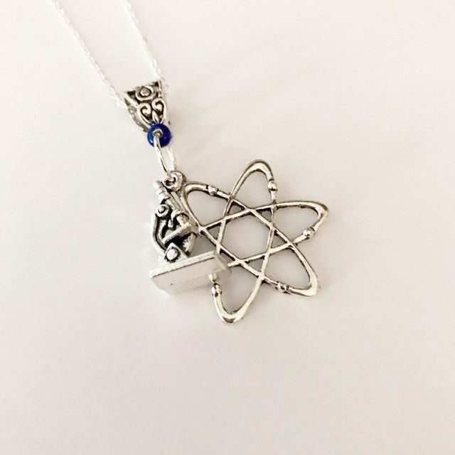 Charm Necklace/ Atom and microscope