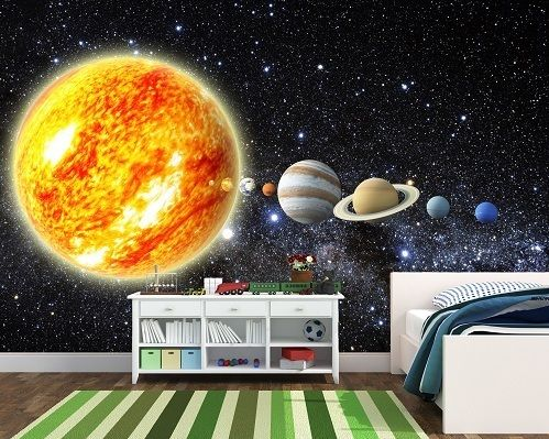 Solar system wall murals decals stickers wallpaper mural photo paper decor ebay liam bedroom - Solar system decorations ...