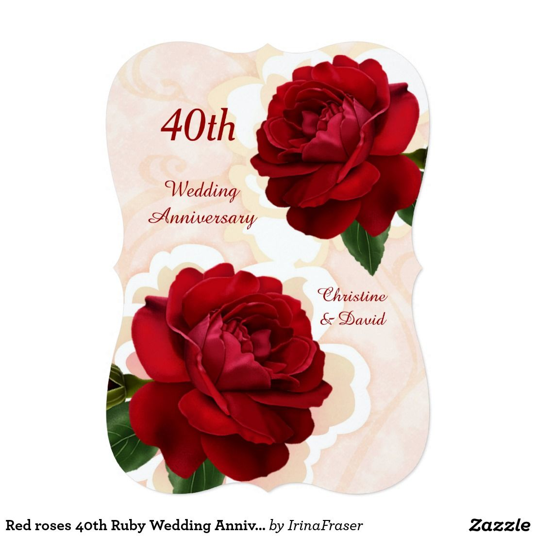 Red roses 40th Ruby Wedding Anniversary Invitation | Ruby wedding ...