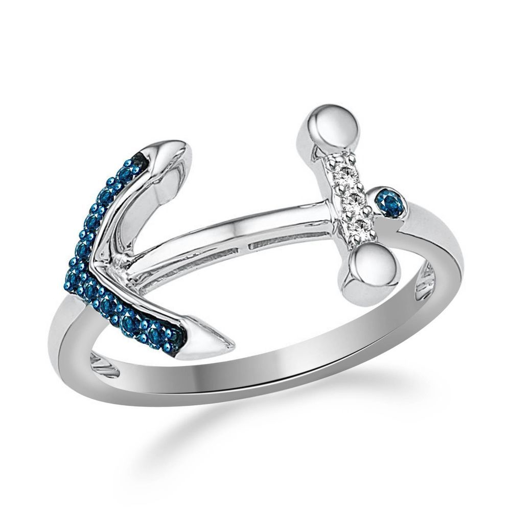 Zales 1/10 CT. T.w. Enhanced Blue and White Diamond Sideways Anchor Ring in 10K White Gold lXgVXy6QLj