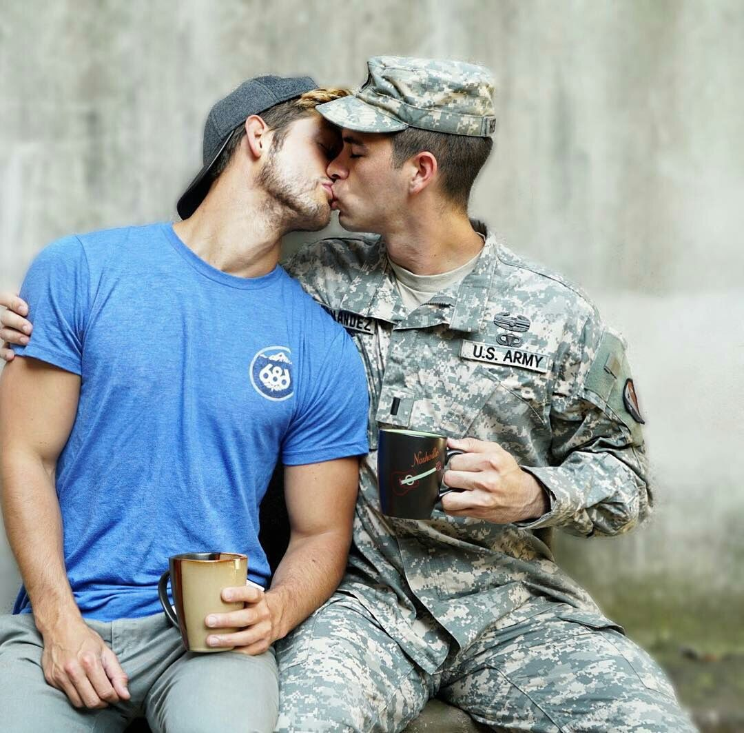 Gay military men kissing public photos