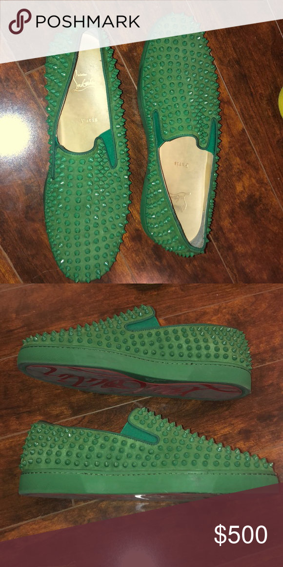 factory authentic 0e6b9 64ee1 Christian Louboutin spike sneakers Kelly green suede ...