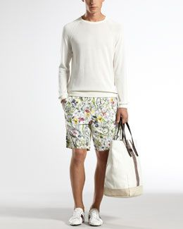12dc8cdf59 Diggin these gucci floral print shorts -46BP Gucci Cotton Crewneck Sweater  & Mini Infinity Floral-Print Swim Shorts