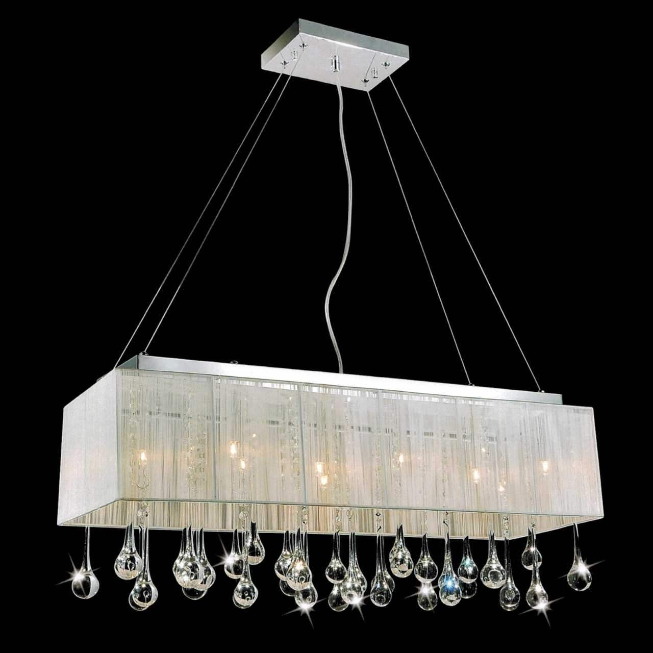 32 Gocce Modern String Shade Crystal Rectangular Chandelier – White Chandelier with Shades