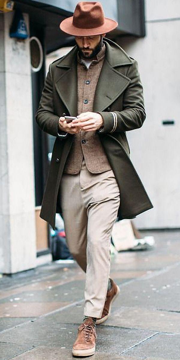 Chic Lapel Plain Loose Army Green Slim Long Coat 6
