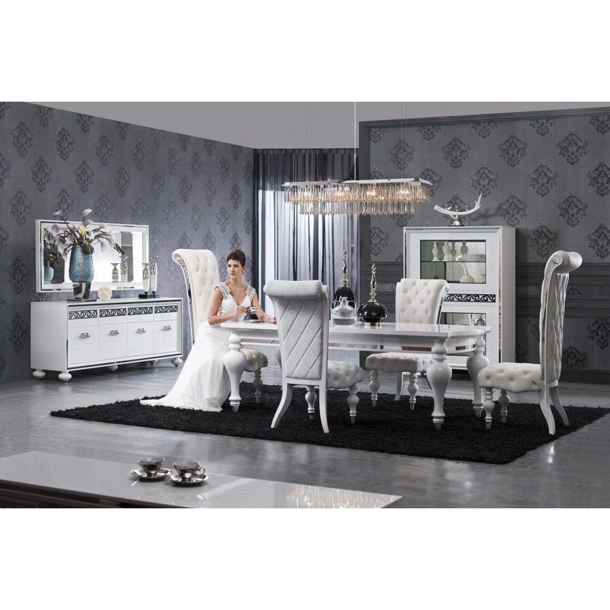 Composition Salle A Manger Ultra Design Blanc Laque Et Argent In