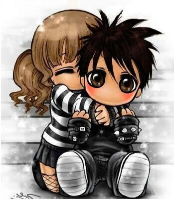 Chibi Emo Couple Emo Chibi Pinterest Emo Couples Chibi Couple Cute Love Cartoons