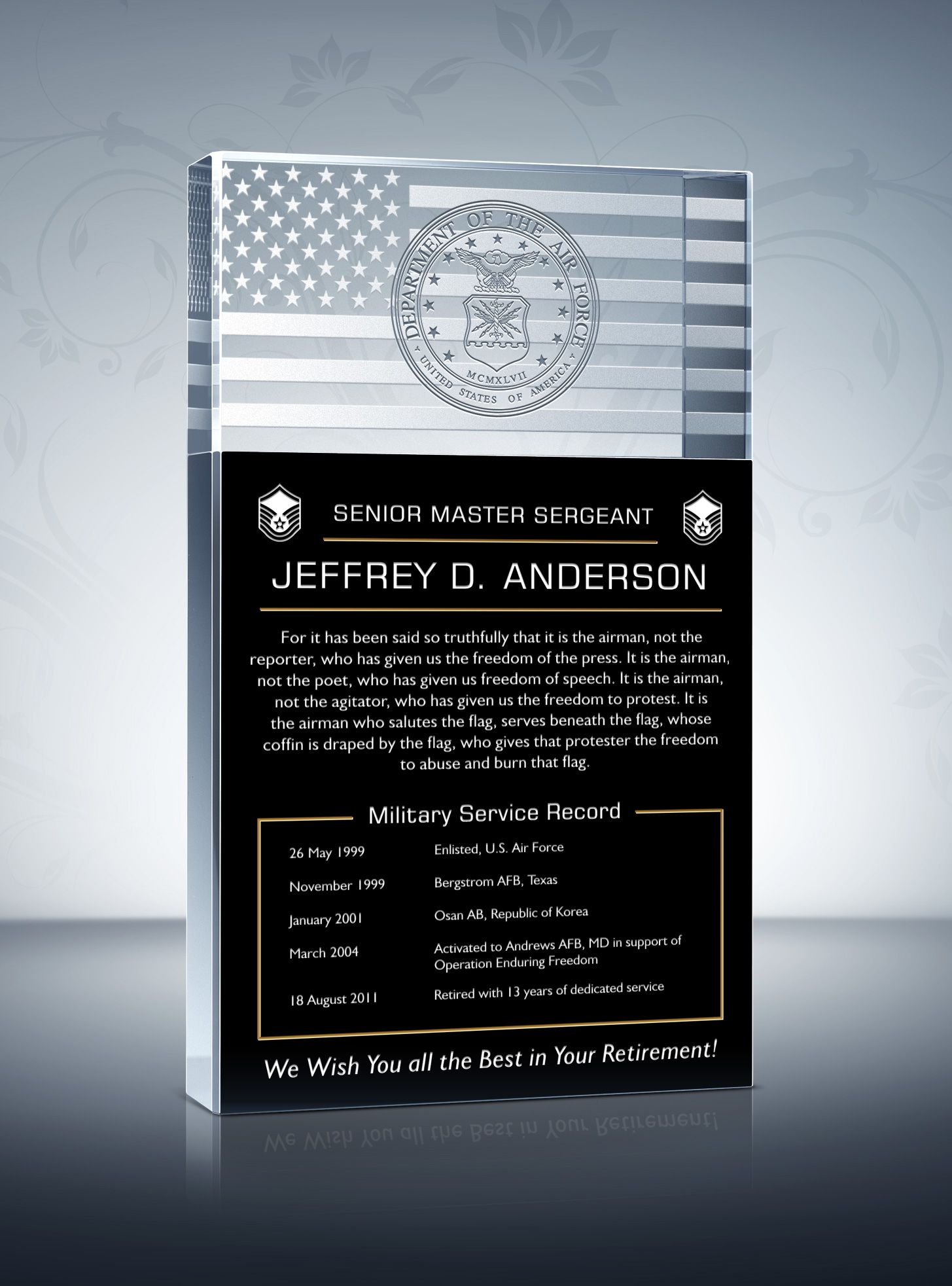 Personalized Military Retirement Gift Plaque | Military