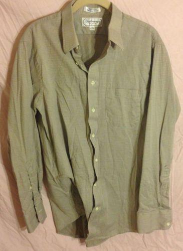 Men's BURBERRY LONDON Dress Shirt Green Cotton Large 16 - 34 EUC Button Down --- SOLD