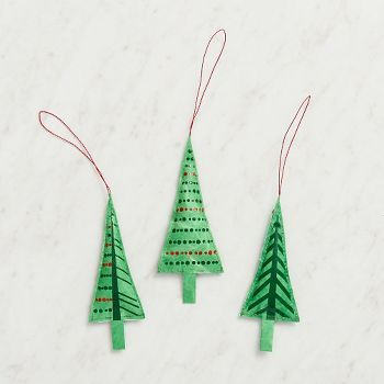 This set of hand-painted Christmas Tree ornaments is a gorgeous