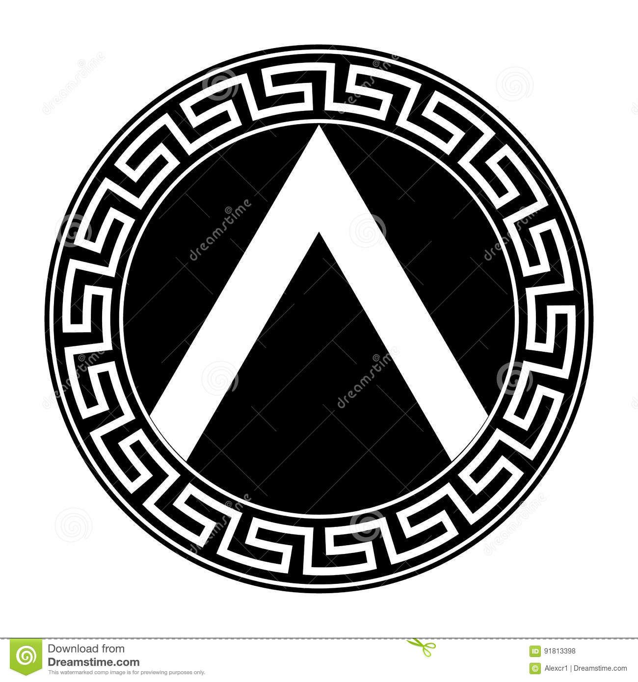 It is an image of Revered Spartan Shield Drawing