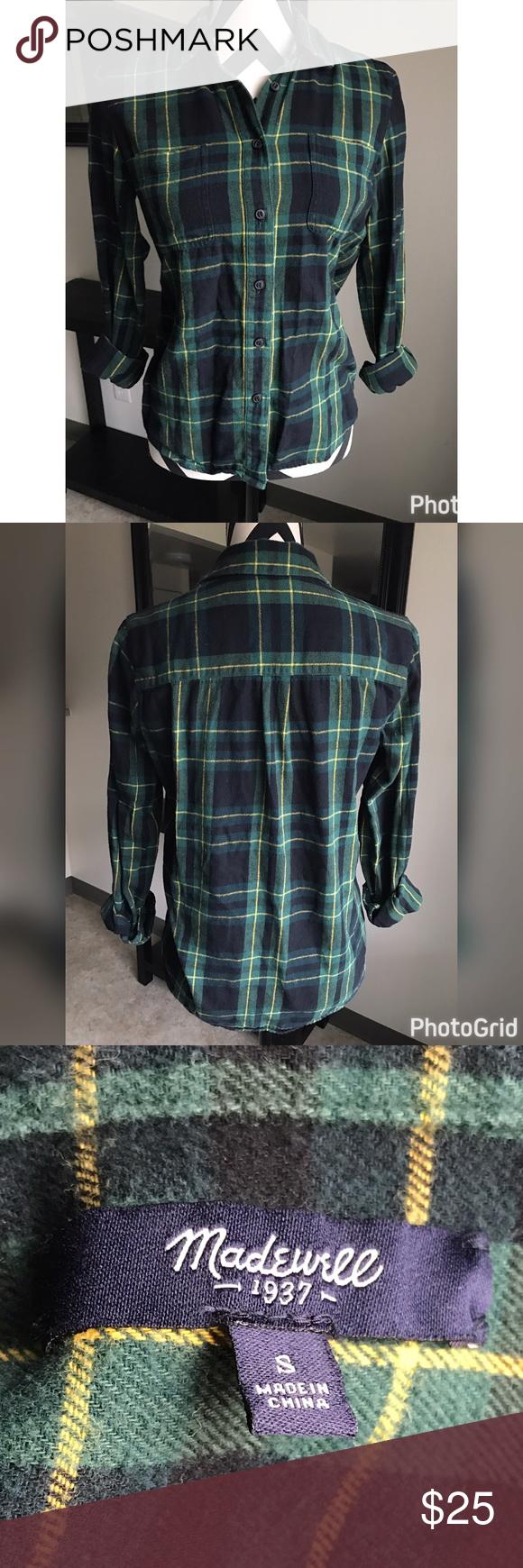 Flannel shirt xs  MADEWELL PLAID FLANNEL SHIRT oversized SZ XS MADEWELL PLAID FLANNEL