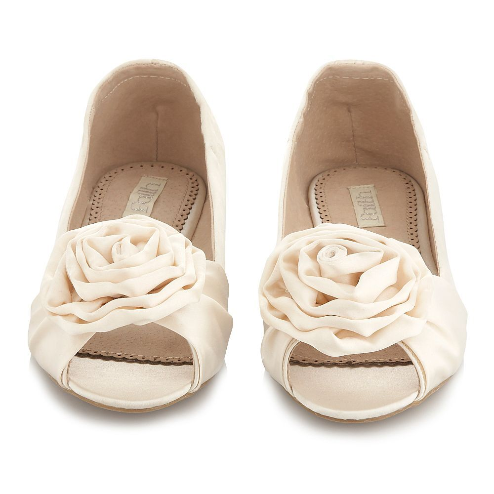 Flats | Wedding Shoes – Ivory peep toe ballet flats - eaWedding ...