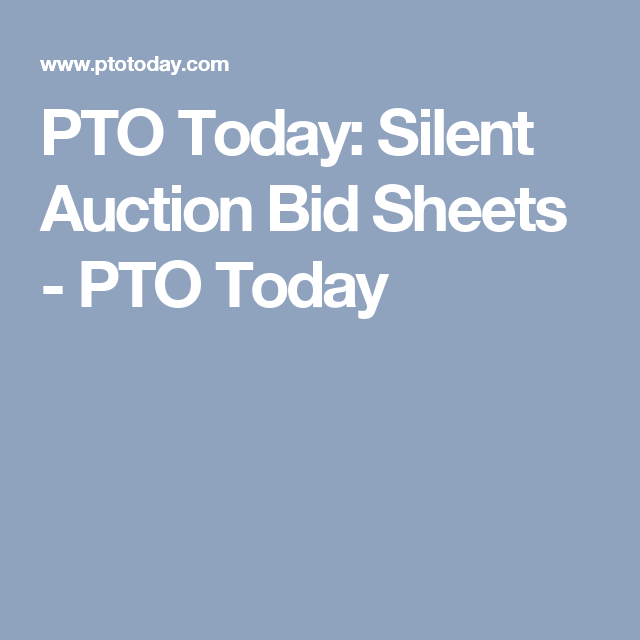 Pto Today Silent Auction Bid Sheets  Pto Today  I Will Need
