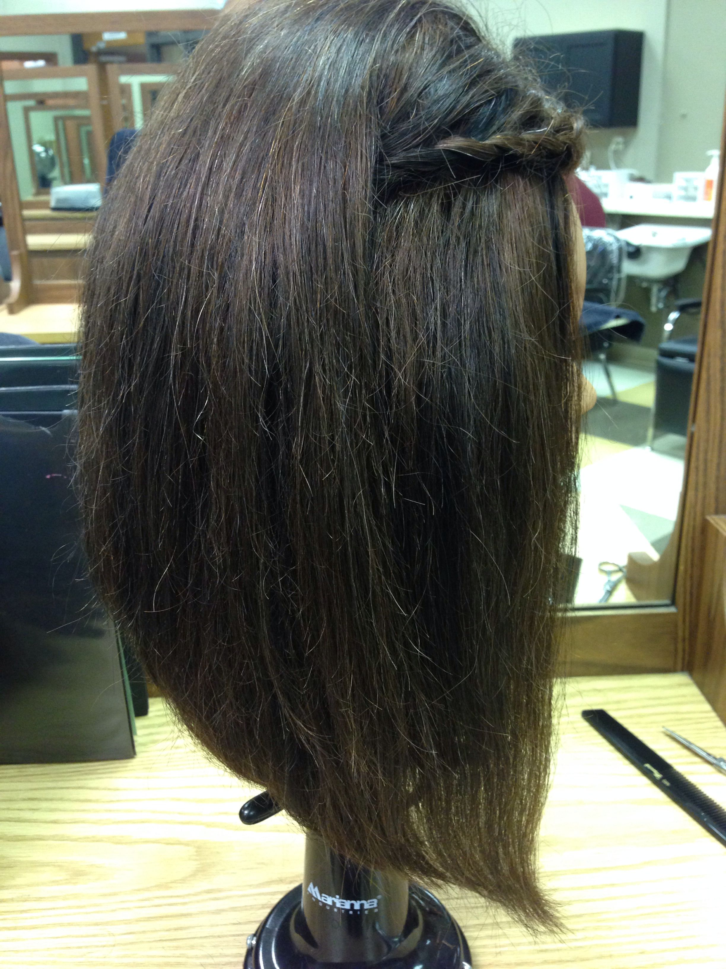 Long-layered bob. 45 degree. Over directed angle. Flat ironed & back-combed.