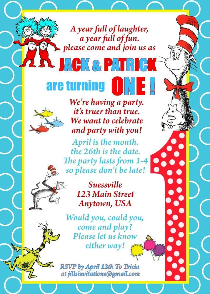 Dr Seuss Birthday Invitation Invitations Thing 1 And 2