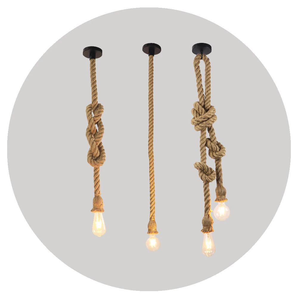 Vintage Hanf Seil Anhanger Licht Retro Loft Industrie Hangenden Lampe Kreative Land Stil Edison Birne Lampe Hause Licht Dekoration Pe In 2020 Pendelleuchte Lampe Retro