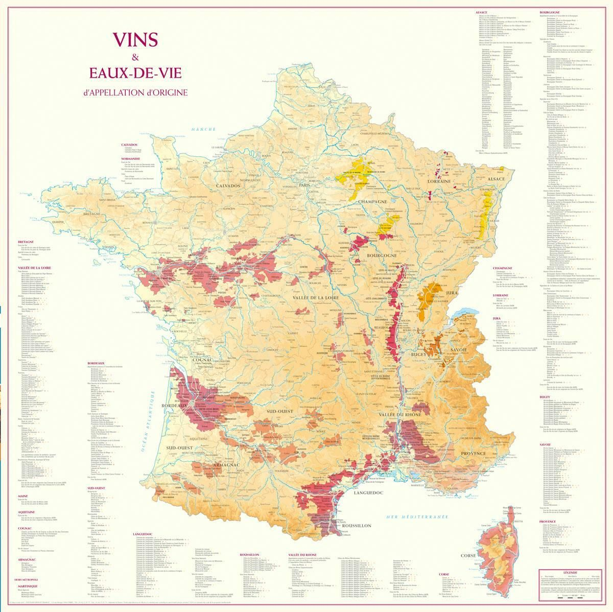 Carte Vins Et Eaux De Vie D Appellation D Origine France