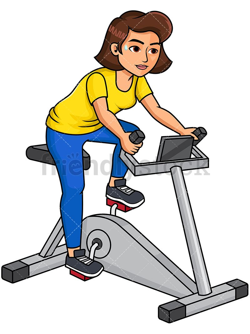 Woman riding stationary bike in 2019 working out clipart - Fitness cartoon pics ...