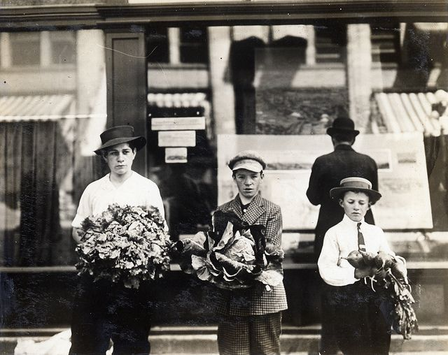 """Grab some goods for dinner! """"Children with produce,"""" circa 1914, via Flickr."""