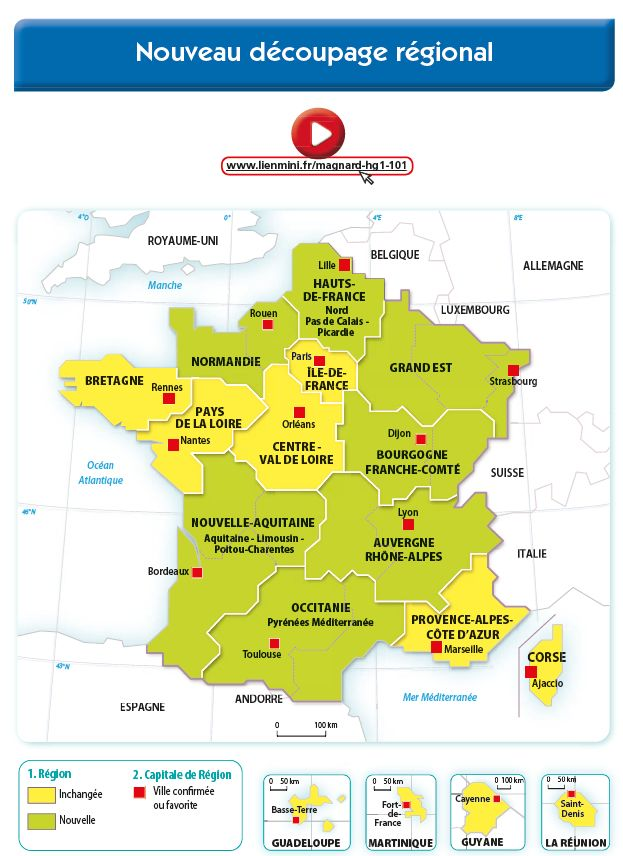 La Nouvelle Carte Des Regions De France Magnard Carte Des