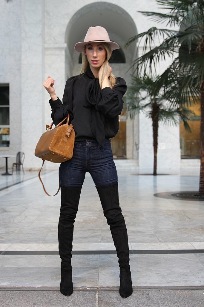 Maggie Winterfeldt, Assistant Home Editor, found a way to add over-the-knee boots to her feminine style.