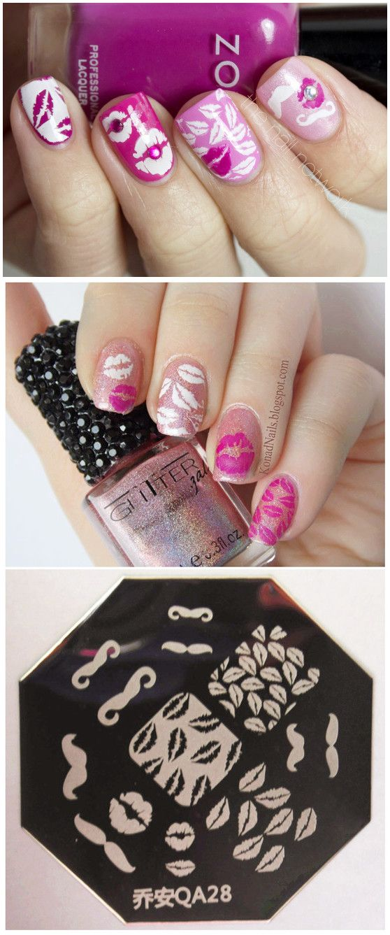 $199 Cute Moustache Lips Design Nail Art Stamp Template - QA28 - stamp template