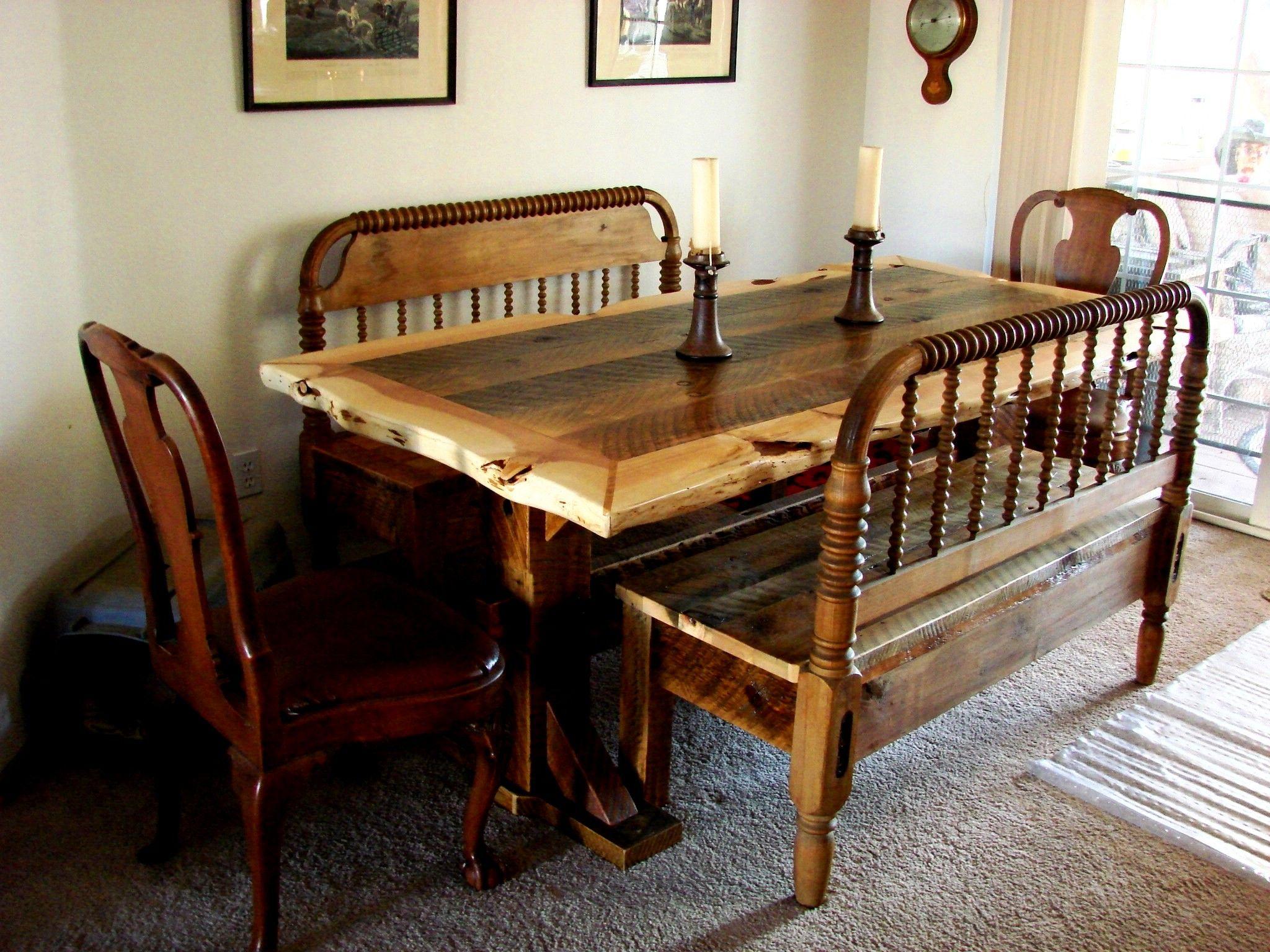 custom order barnwood trestle table with live juniper edges and