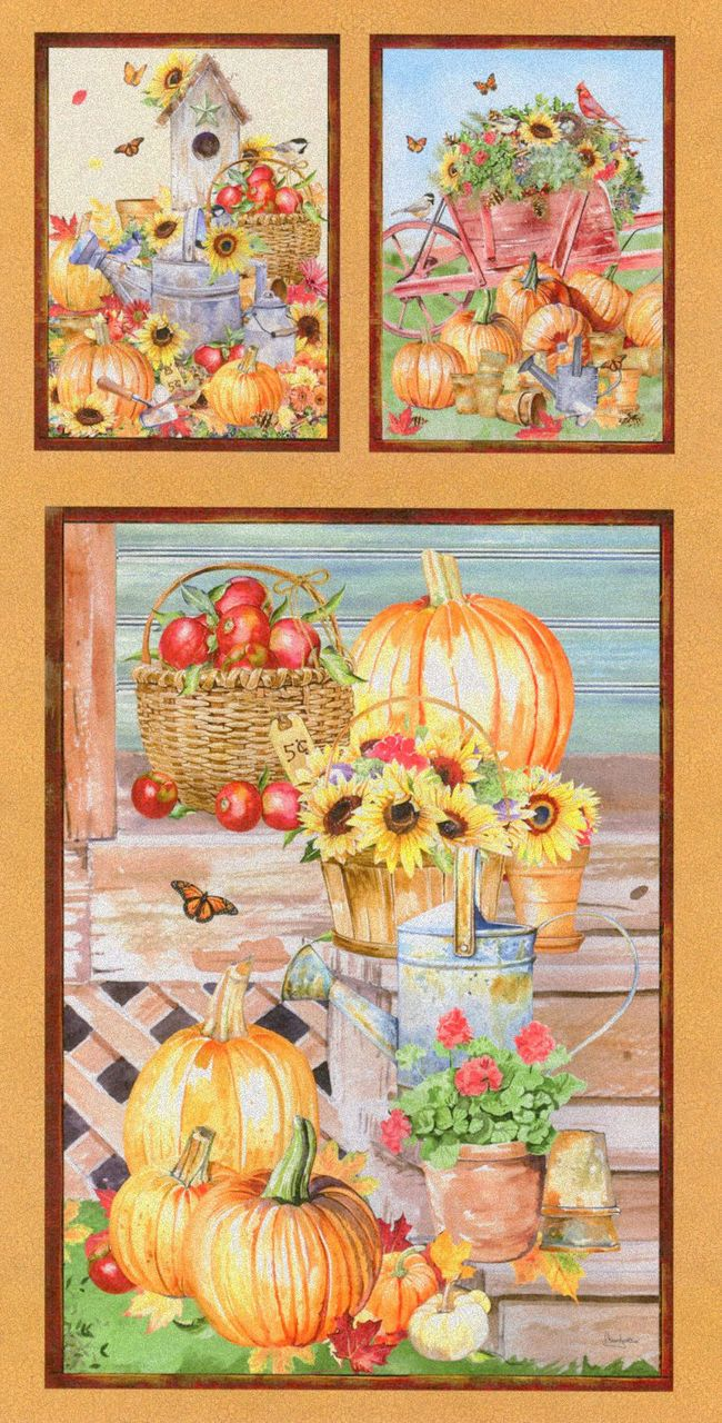 Farmers market collection panel this cotton novelty fabric is a