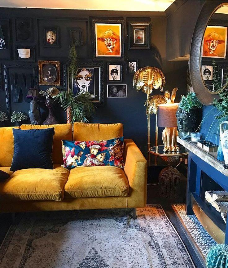 Mustard Sofa Dark Blue Walls Vintage Floor Lamp And Desk Lamp