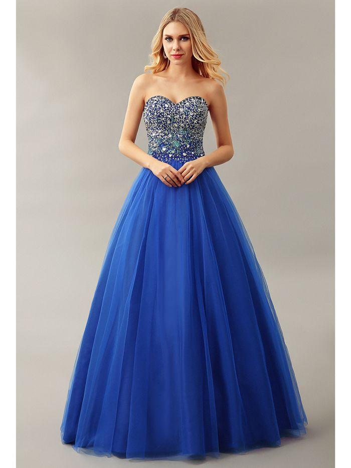 Blue Floor Length Poofy Dress