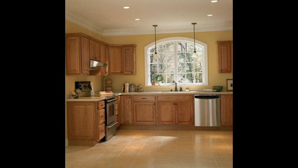 Kitchen Cabinet With Wood Concept In Cream Wall Paint Combination
