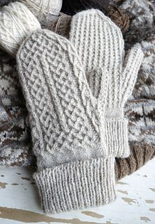 Mittens in three sizes, designed to show off the excellent stitch definition of Foula Wool.