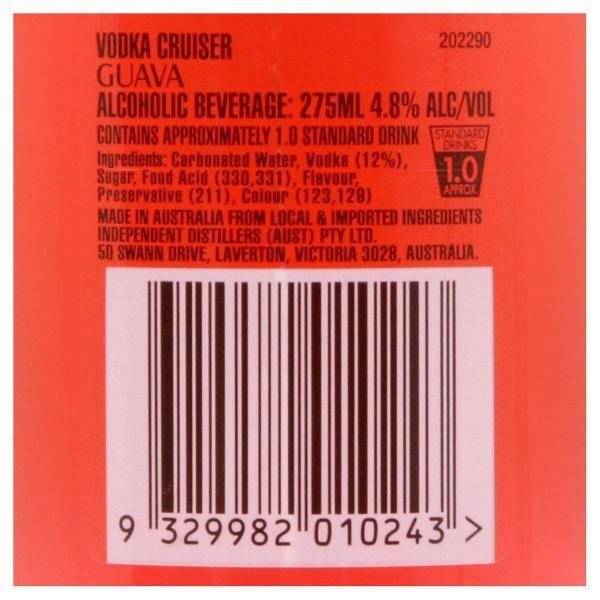 vodka cruiser guava back label