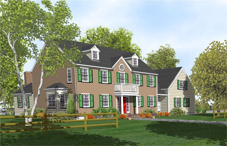 Colonial house with porch two story colonial home plans for Front porch designs for two story houses