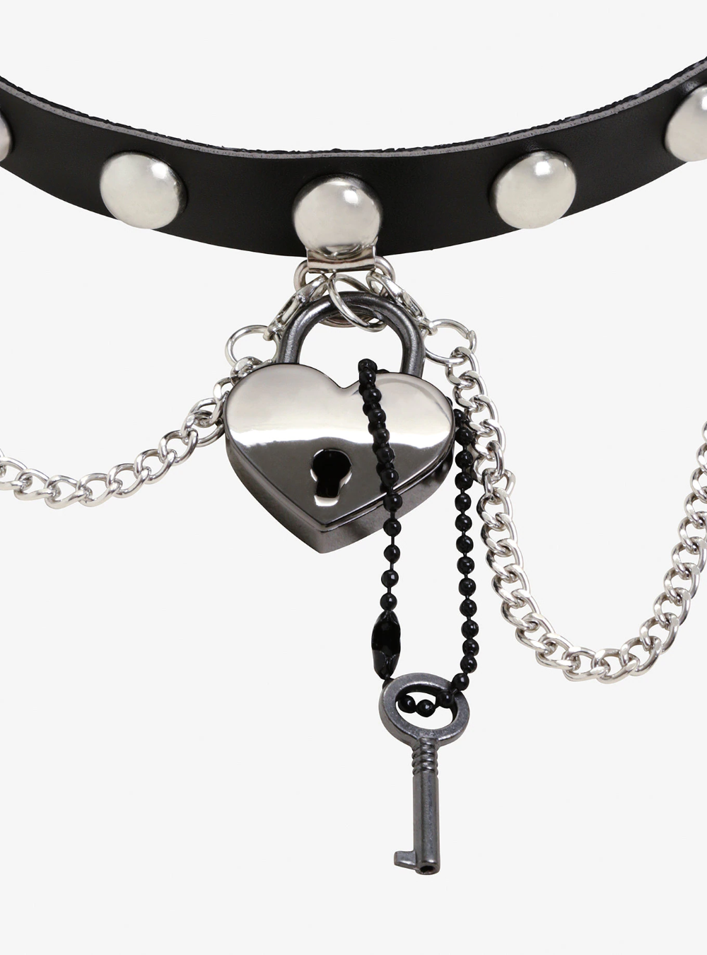 Choker Necklace Punk Collar Gothic Chain Rivet Women Spike Buckle Pendant Glossy