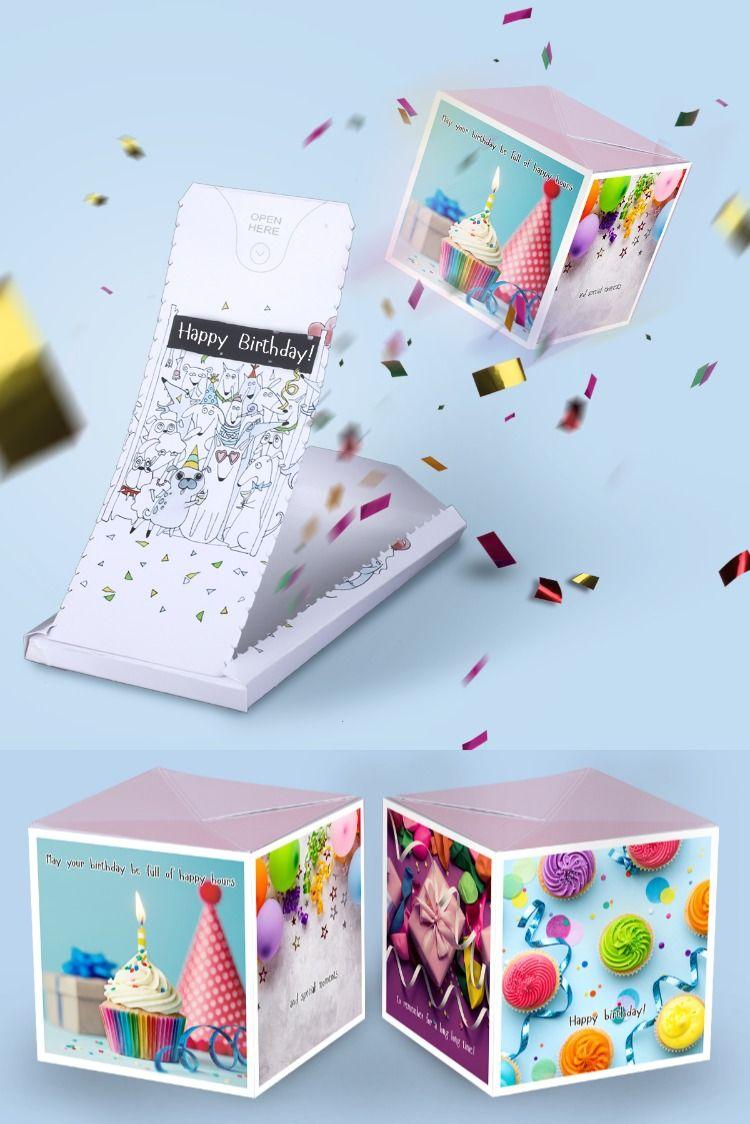 Boom birthday card exploding confetti funny surprise