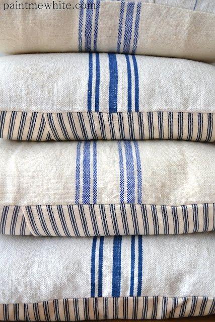 Blue And White Grain Sack Pillows Fresh Farmhouse For