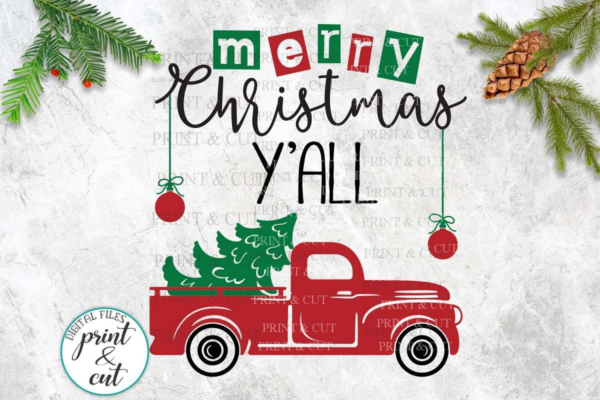 Merry Christmas Y'all Truck svg dxf files for vinyl HTV