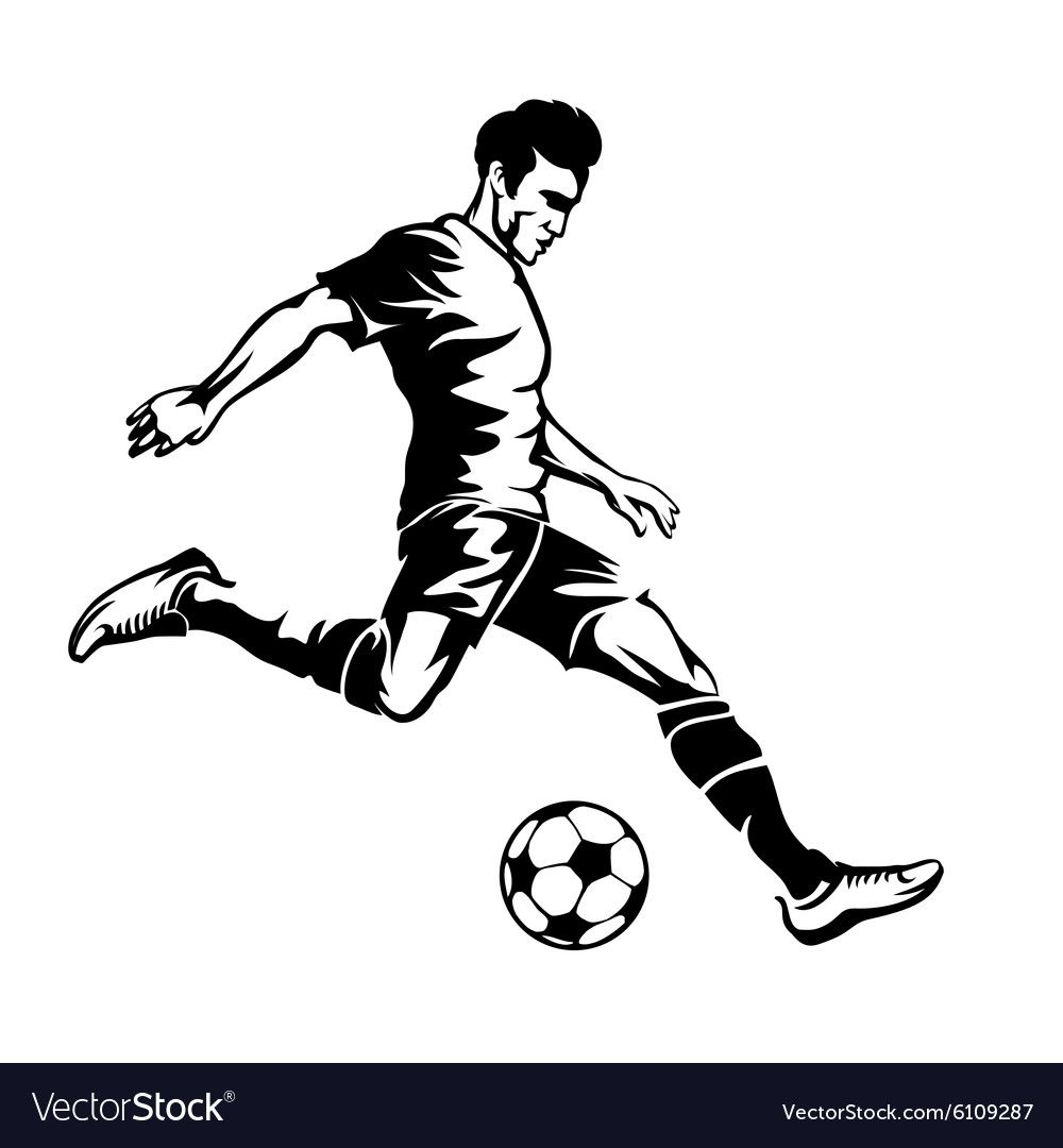 Download Football player with soccer ball silhouette vector image ...