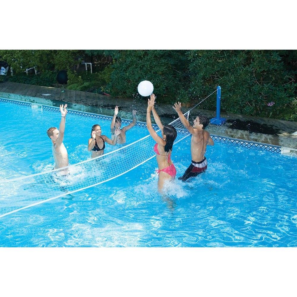 Swim Central 20 Volleyball Weighted Net Support Swimming Pool Game White Blue Swimming Pool Games Pool Games Pool