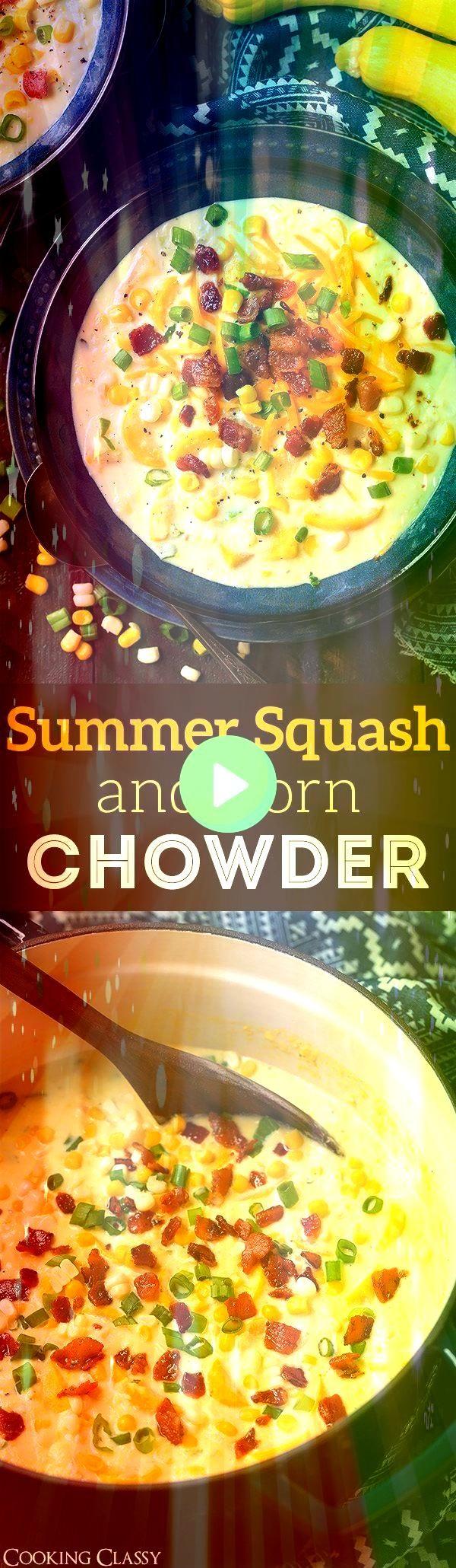 und Maissuppe  Eine köstliche Mischung aus sautierten Zucchini Kürbis  Sommerkürbis und Maissuppe  Eine köstliche Mischung aus sautierten Zucchini K&u...
