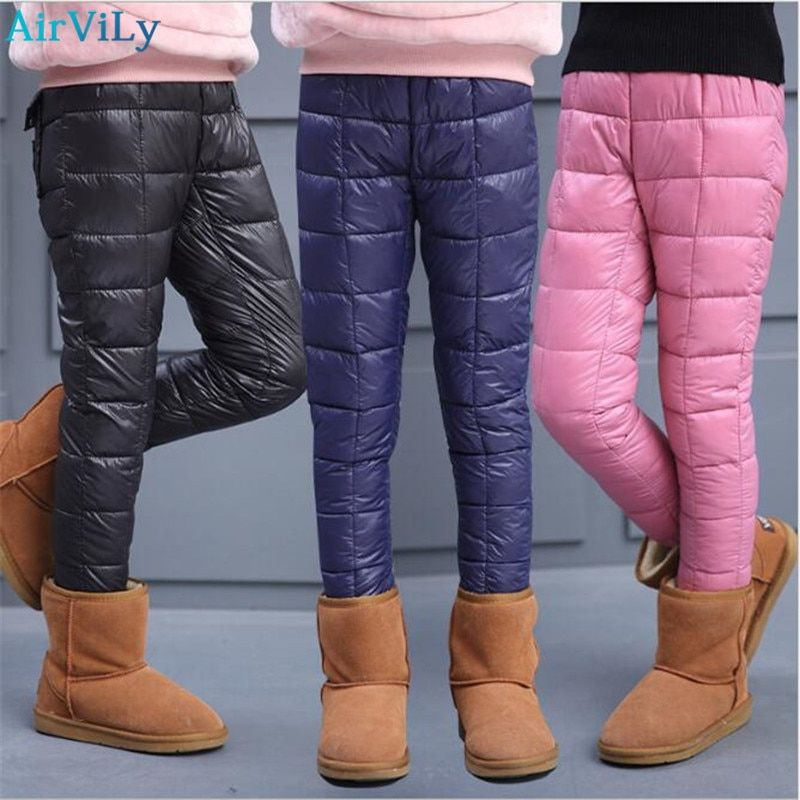 Kids Children Puffer Padded Pants Winter Warm Outdoor Trousers Elastic Thicken