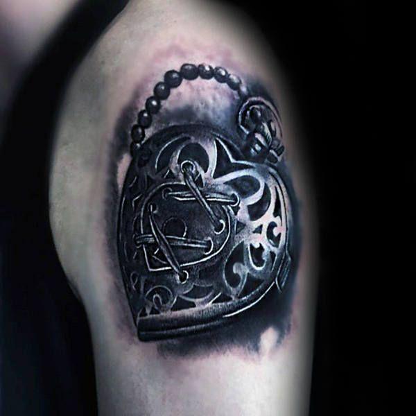 Upper Arm Realisitc 3d Heart Lock Mens Tattoo Design Ideas Lock Tattoo Tattoos For Guys Heart Lock Tattoo
