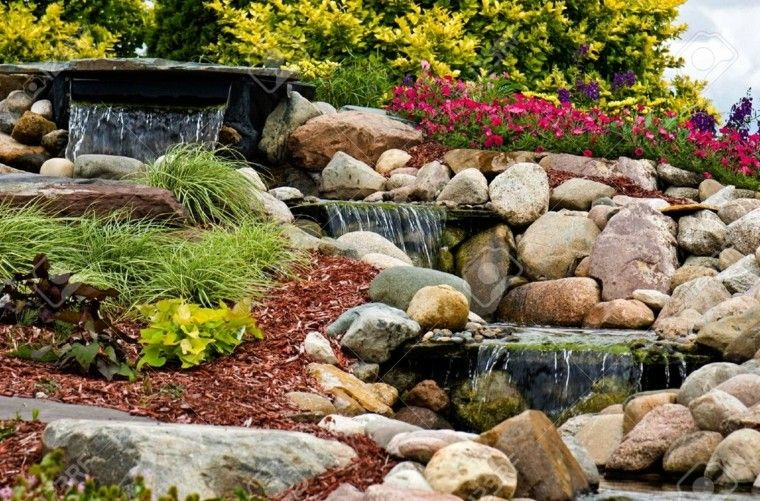 Cascadas y cataratas en el jardín - 63 ideas refrescantes Diseño - cascadas en jardines