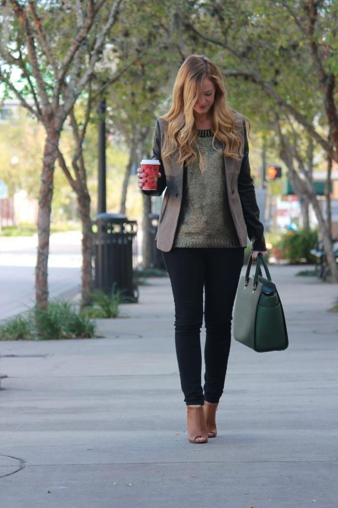 Gold sweater, leather sleeved blazer, Michael Kors purse ...